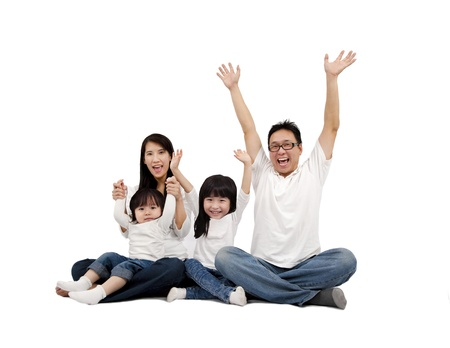 Happy Asian Family isolated on white photo