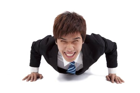 push ups: Young happy businessman make push-ups  and fitness