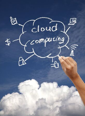 computer cloud: Drawing cloud computing concept on the blue sky Stock Photo
