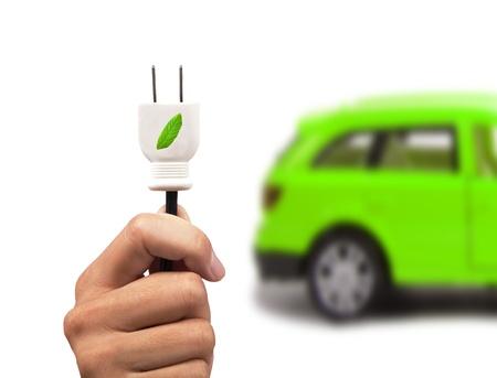 bateria: Coche eléctrico y concepto de coche verde