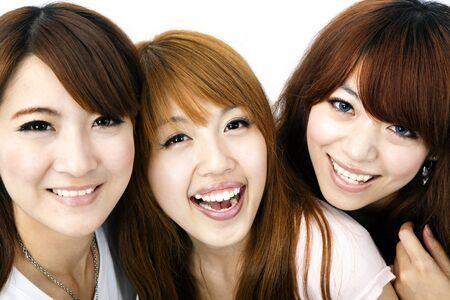 girl bonding: Happy group of asian girls smiling Stock Photo