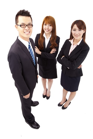asian office lady: Young asian business team