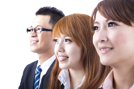 Young smiling business woman and businessman photo