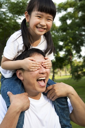 Happy little girl and her father Stock Photo - 9545424