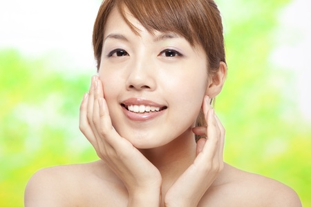 Beautiful woman face with skin care concept Stock Photo - 9594301