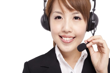 Smiling businesswoman and Customer Representative with headset photo