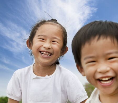 happy asian kids  photo