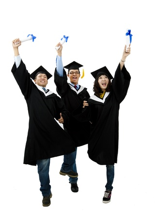 group of graduation students isolated on white background photo