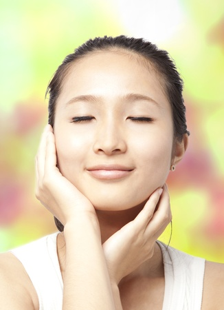 Beautiful asian woman face with skin care concept Stock Photo - 9622549