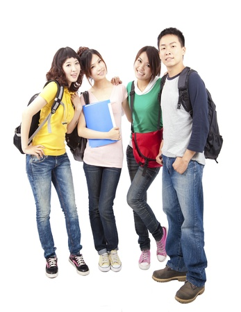 hispanic student: Happy group of young asian students standing together