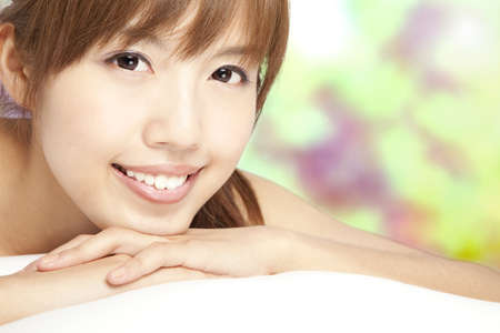 close up of beautiful asian girl and smiling face Stock Photo - 9653746