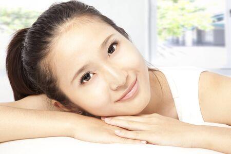 close-up portrait young woman face photo