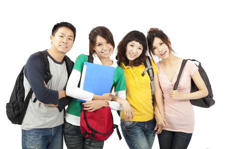 highschool: four young happy students