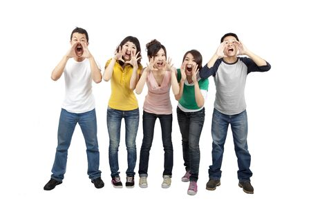Young friends shouting together photo