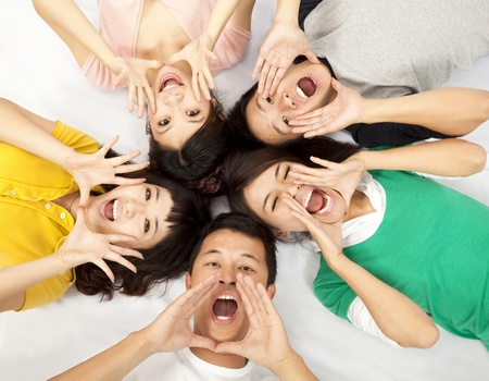 group of young asian people are shouting Stock Photo - 9701108