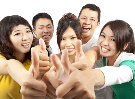 student university: young asian Group people with thumbs up Stock Photo