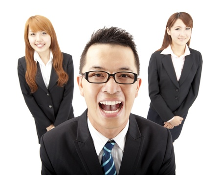 asian business women: happy young asian business man and woman Stock Photo