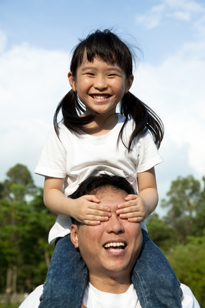 Happy family at park. girl and her father Stock Photo - 9908599