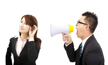 conversations: speaker and listen concept. business man and woman Communications problems