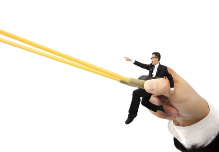 business sprint concept with rubber band