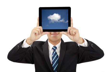 smiling businessman holding tablet pc and cloud thinking concept Stock Photo - 9999627