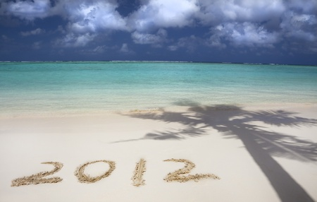 2012 on the beach of tropical island photo