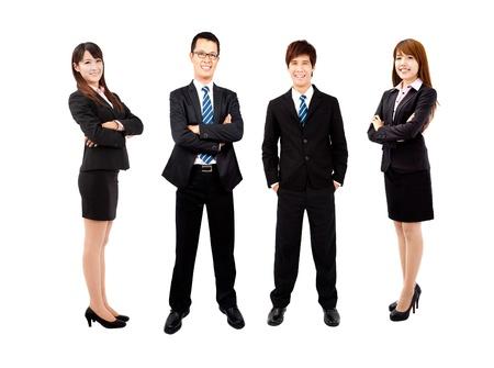 흰색 배경에 고립 된 젊은 아시아 비즈니스 팀