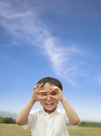 happy child looking forward photo