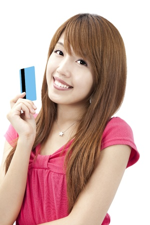 smiling asian woman holding credit card photo