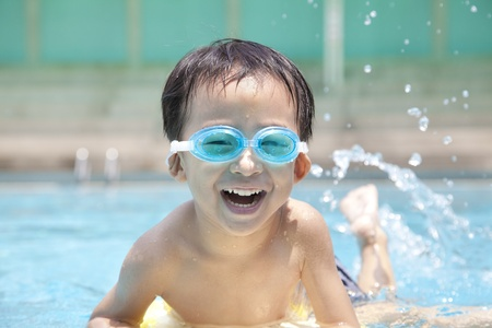 asian Boy in Swimming Pool photo