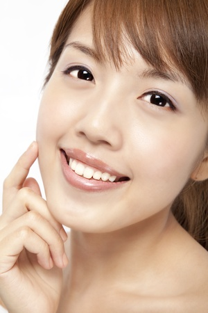 asian woman face: Happy beautiful asian womans face with fresh clean skin