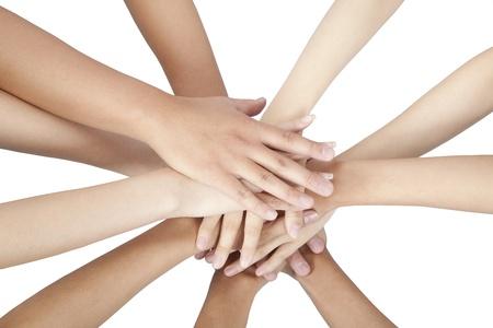 commitment: Grupo de manos de la gente aislada juntos en blanco