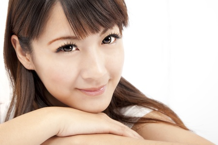 young asian girl: beautiful woman face isolated