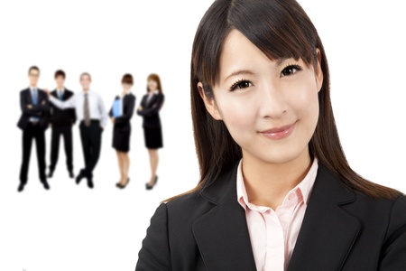 beautiful asian businesswoman and business team photo