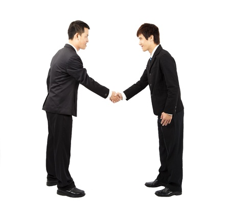 asian businessman hand shake and bow photo