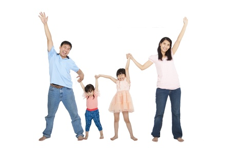 happy asian Family isolated on white background