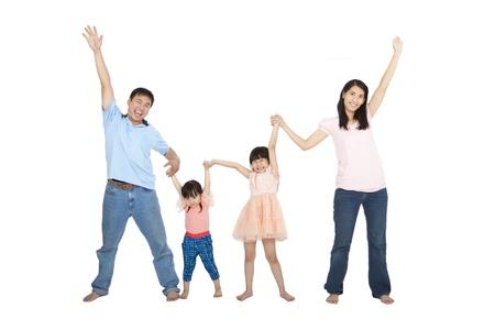 asia family: Familia asi�tica feliz aisladas sobre fondo blanco