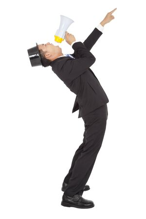 businessman using a megaphone: Businessman Using a Megaphone and pointing  Stock Photo