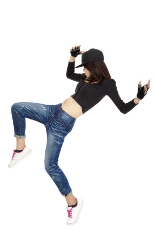 hip hop dancing: young asian woman dancing