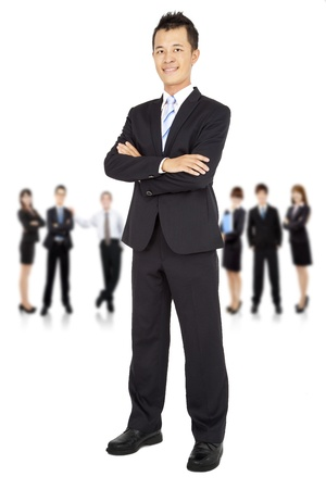 sales team: asian young Businessman and business team