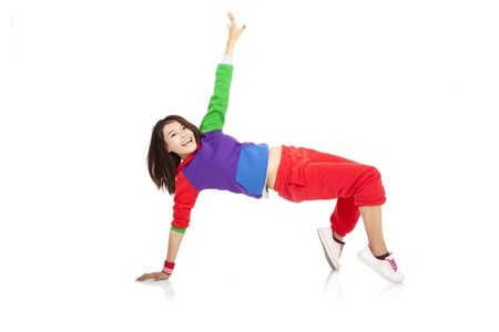 break dance: asian happy girl dancing and isolated on white background
