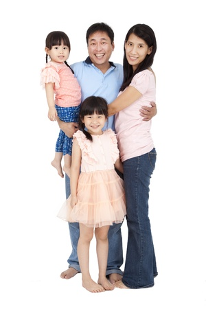 happy asian family: happy family stand together and isolated on white background