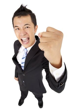happy and excited businessman with fist  photo