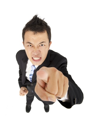 angry person: angry businessman pointing you
