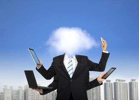 클라우드 컴퓨팅과 비즈니스 사고의 개념 스톡 콘텐츠