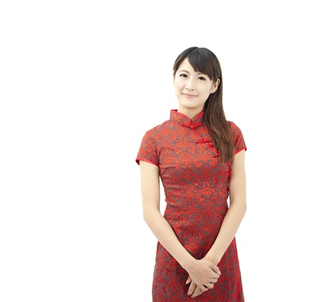 cheongsam: Chinese young woman and traditional clothing  cheongsam Stock Photo