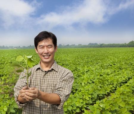 asian produce: portrait of a asian farmer
