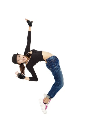 break dancer: happy asian woman  dancing and isolated on white