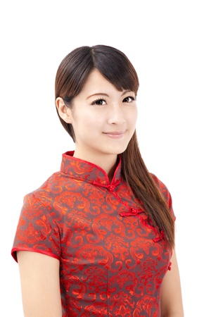 smiling beautiful chinese young woman with tradition clothing photo