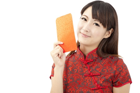 cheongsam: pretty chinese young woman holding red bag for happy chinese new year